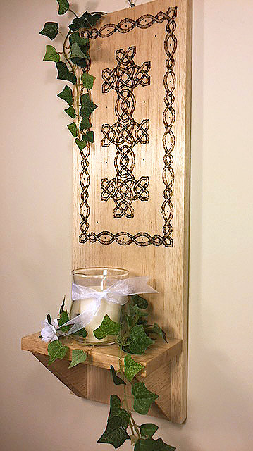 Celtic Charm Wood Burned Decorative Candleholder Wall